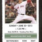 TORONTO BLUE JAYS BOSTON RED SOX 2013 TICKET BAUTISTA REYES HR