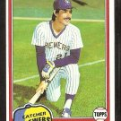 Milwaukee Brewers Buck Martinez 1981 Topps Baseball Card # 56 Nr Mt