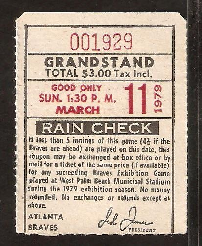 MONTREAL EXPOS ATLANTA BRAVES 1979 SPRING TRAINING TICKET STUB WEST PALM BEACH STADIUM