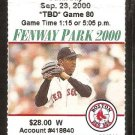 BALTIMORE ORIOLES BOSTON RED SOX 2000 FENWAY PARK TICKET STUB CAL RIPKEN 2 HITS NOMAR GARCIAPPARRA
