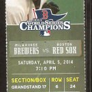 Milwaukee Brewers Boston Red Sox 2014 Ticket Gomez Reynolds Napoli HR