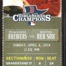 Milwaukee Brewers Boston Red Sox 2014 Ticket Ryan Braun Khris Davis 2 hits