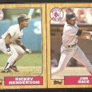1987 Topps Wax Box Panel New York Yankees Rickey Henderson Boston Red Sox Jim Rice