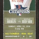 Baltimore Orioles Boston Red Sox 2014 Ticket Nelson Cruz Jonny Gomes HR Adam Jones