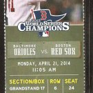 Baltimore Orioles Boston Red Sox 2014 Ticket Mike Napoli David Ross HR