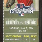 Oakland A's Athletics Boston Red Sox 2014 Ticket David Ortiz Gomes Ross HR Jon Lester