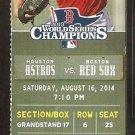 Houston Astros Boston Red Sox 2014 Ticket David Ortiz 400th HR Chris Carter Jason Castro