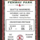 SEATTLE MARINERS BOSTON RED SOX 2011 TICKET ICHIRO ELLSBURY ACKERLY