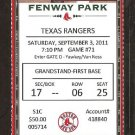 TEXAS RANGERS BOSTON RED SOX 2011 TICKET CARLTON FISK JOSH HAMILTON JOSH REDDICK