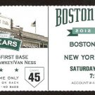 NEW YORK YANKEES BOSTON RED SOX 2012 TICKET TEIXEIRA HR CIRIACO 4 HITS