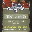 Tampa Bay Rays Boston Red Sox 2014 Ticket Brock Holt Jon Lester Garin Cecchini