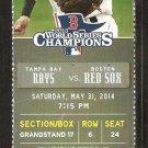 Tampa Bay Rays Boston Red Sox 2014 Ticket Brock Holt Jackie Bradley  Kevin Kiermaier HR