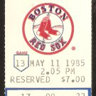 OAKLAND ATHLETICS BOSTON RED SOX 1985 TICKET DAVE KINGMAN HR WADE BOGGS JIM RICE