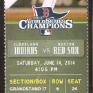 Cleveland Indians Boston Red Sox 2014 Ticket Cabrera Brantley Kipnis Holt
