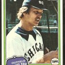 1981 Topps Baseball Card # 186 Chicago White Sox Wayne Nordhagen nr mt