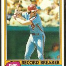1981 Topps Baseball Card # 206 Philadelphia Phillies Mike Schmidt Record Breaker ex mt