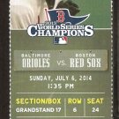 Baltimore Orioles Boston Red Sox 2014 Ticket Nelson Cruz J.J. Hardy David Ortiz