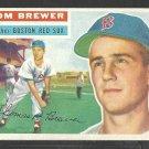 1956 Topps Baseball Card # 34 Boston Red Sox Tom Brewer Grey Back Variation