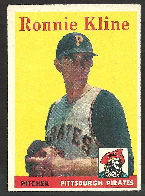 PITTSBURGH PIRATES RONNIE KLINE 1958 TOPPS # 82 EX MT