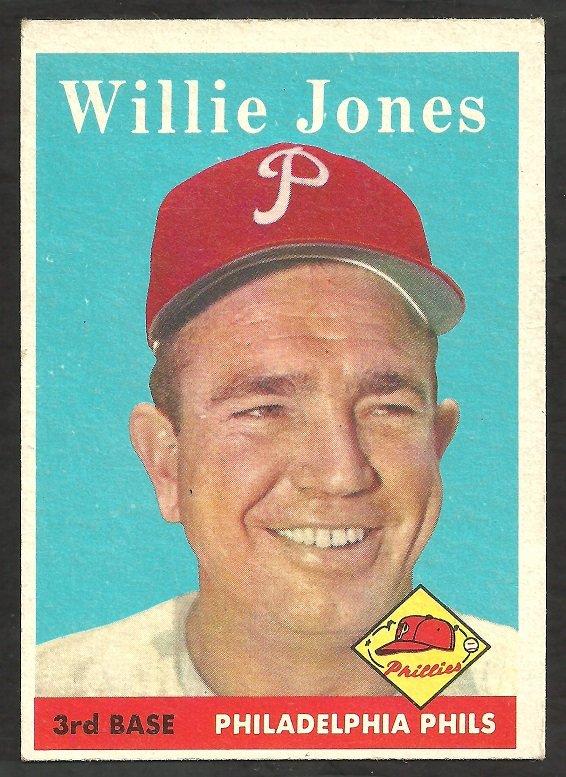 PHILADELPHIA PHILLIES WILLIE JONES 1958 TOPPS # 181 VG+