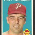 PHILADELPHIA PHILLIES CURT SIMMONS 1958 TOPPS # 404 EX