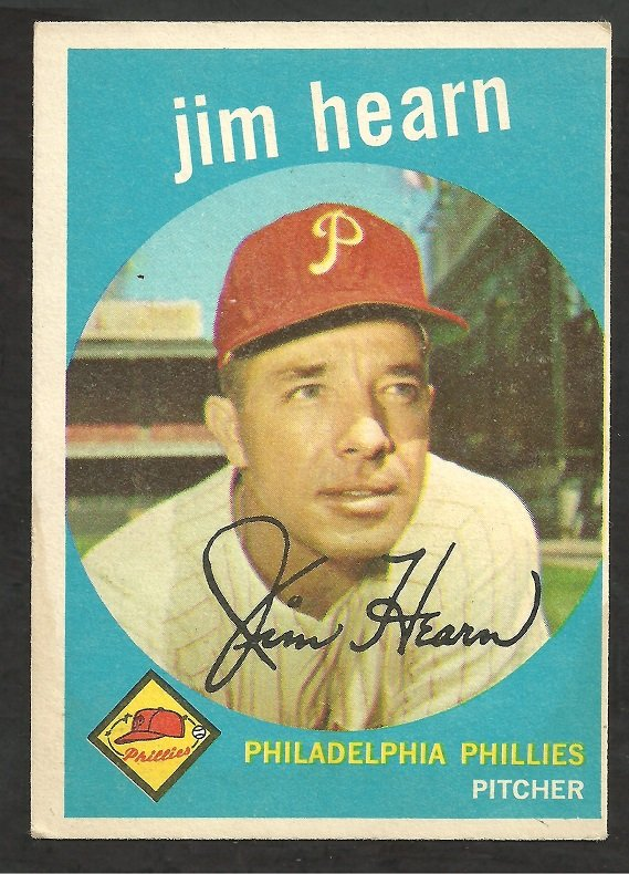 PHILADELPHIA PHILLIES JIM HEARN 1959 TOPPS # 63 EX