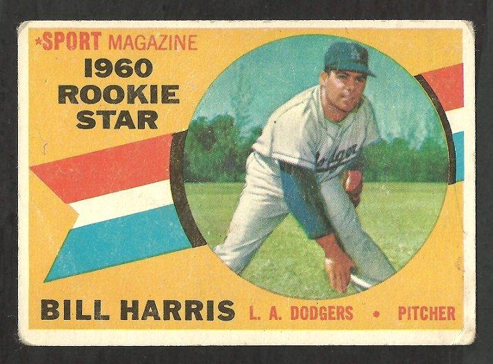 LOS ANGELES DODGERS BILL HARRIS 1960 TOPPS ROOKIE STAR # 128 G+