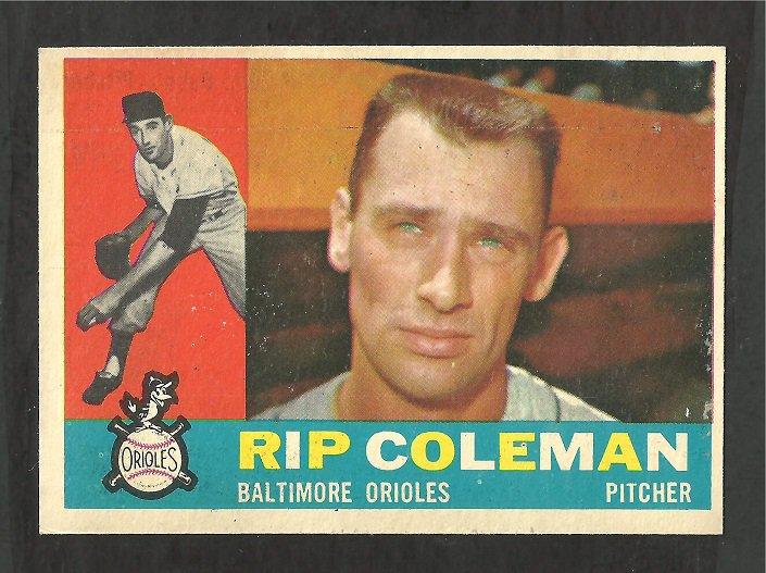 BALTIMORE ORIOLES RIP COLEMAN 1960 TOPPS # 179