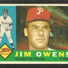 PHILADELPHIA PHILLIES JIM OWENS 1960 TOPPS # 185 G