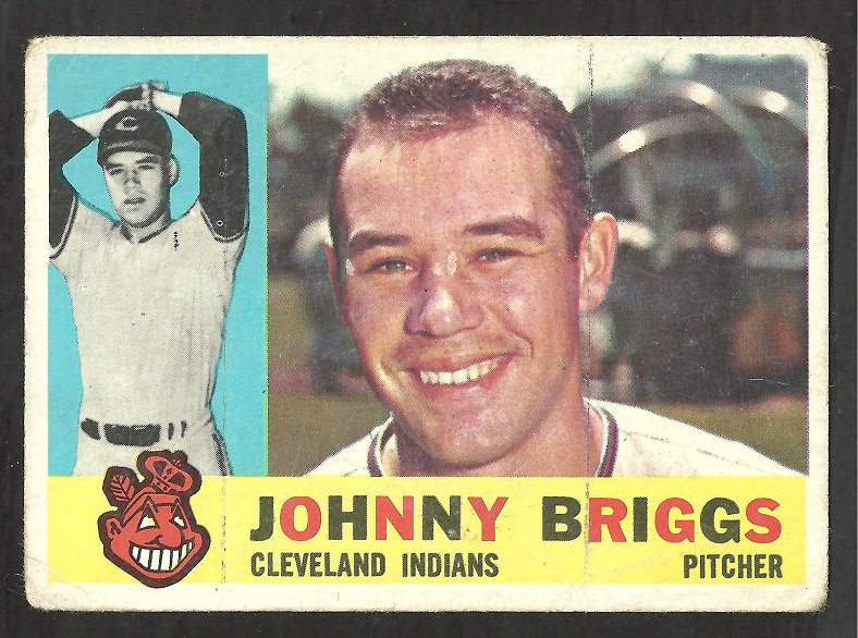 CLEVELAND INDIANS JOHNNY BRIGGS 1960 TOPPS # 376 G