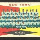 NEW YORK YANKEES TEAM CARD 1960 TOPPS # 332 G