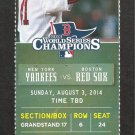New York Yankees Boston Red Sox 2014 Ticket Pedroia David Ortiz Gardner HR Derek Jeter