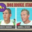 OAKLAND ATHLETICS ROOKIE STARS ROBERTO RODRIGUEZ DARRELL OSTEEN 1968 TOPPS # 199 VG/EX