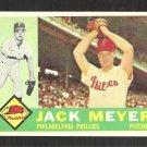1960 Topps Baseball Card # 64 Philadelphia Phillies Jack Meyer