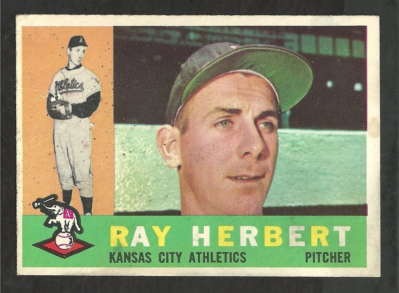 KANSAS CITY ATHLETICS RAY HERBERT 1960 TOPPS # 252 G+