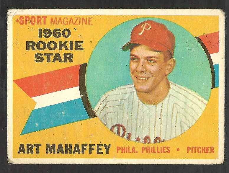 PHILADELPHIA PHILLIES ART MAHAFFEY 1960 TOPPS ROOKIE STAR # 138 G