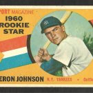 NEW YORK YANKEES DERON JOHNSON 1960 TOPPS ROOKIE STAR # 134 G+