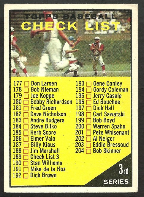 1961 TOPPS 3rd SERIES CHECKLIST # 189a CUBS vs REDS UNMARKED