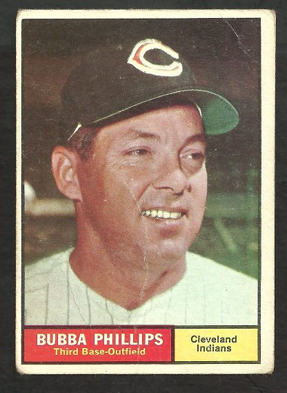CLEVELAND INDIANS BUBBA PHILLIPS 1961 TOPPS # 101 G