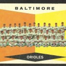 BALTIMORE ORIOLES TEAM CARD 1960 TOPPS # 494 G/VG