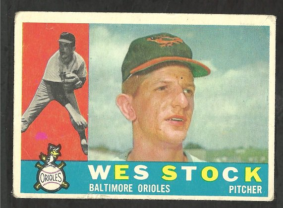 BALTIMORE ORIOLES WES STOCK 1960 TOPPS # 481 VG