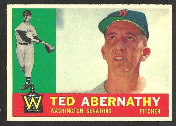 WASHINGTON SENATORS TED ABERNATHY 1960 TOPPS # 334 NR MT