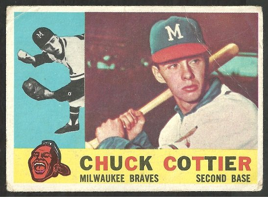 MILWAUKEE BRAVES CHUCK COTTIER 1960 TOPPS # 417 G