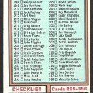 1974 Topps Football Checklist # 391 Cards # 265-396 vg Unmarked