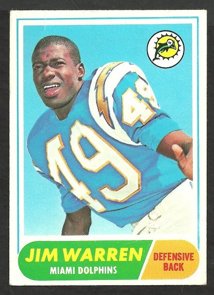 MIAMI DOLPHINS JIM WARREN 1968 TOPPS # 66 VG CHARGERS
