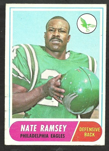 PHILADELPHIA EAGLES NATE RAMSEY 1968 TOPPS # 136 VG