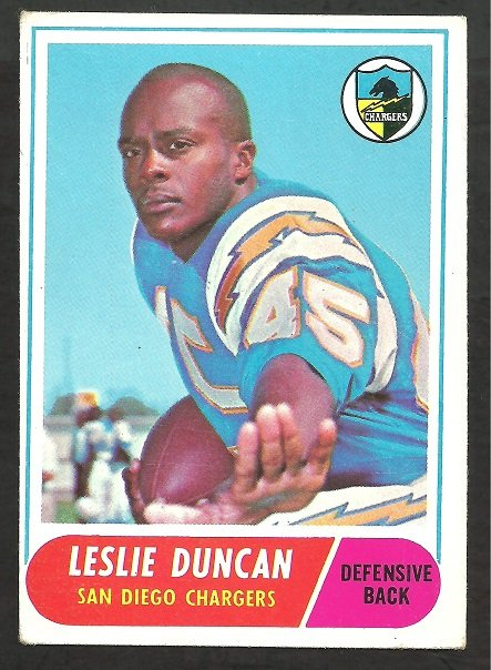 SAN DIEGO CHARGERS LESLIE SPEEDY DUNCAN 1968 TOPPS # 167 VG/EX