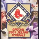 BOSTON RED SOX 2001 POCKET SCHEDULE BABE RUTH TED WILLIAMS JIM RICE SMOKEY JOE WOOD +++