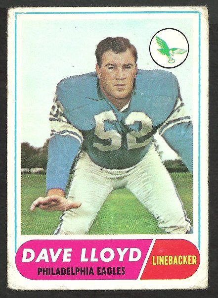 PHILADELPHIA EAGLES DAVE LLOYD 1968 TOPPS # 84 G