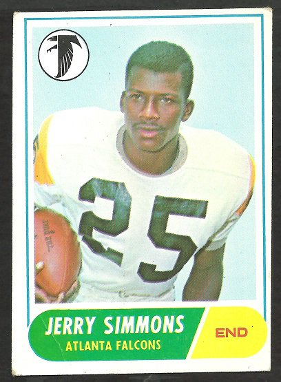 ATLANTA FALCONS JERRY SIMMONS 1968 TOPPS # 177 VG